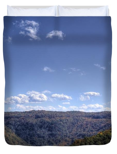 Wide Shot Of Tree Covered Hills Duvet Cover