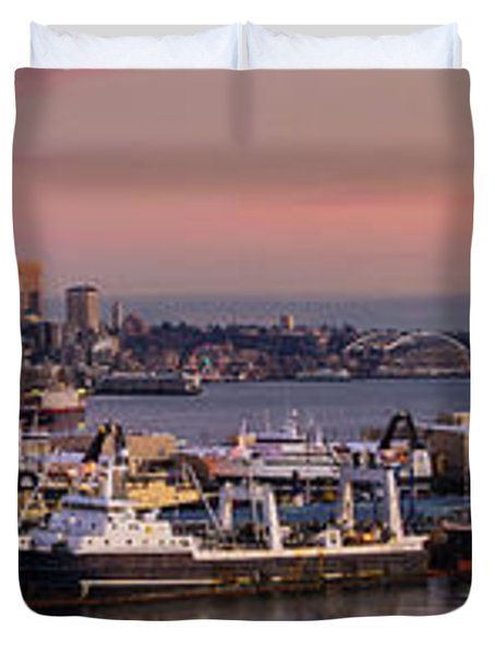 Wider Seattle Skyline And Rainier At Sunset From Magnolia Duvet Cover by Mike Reid