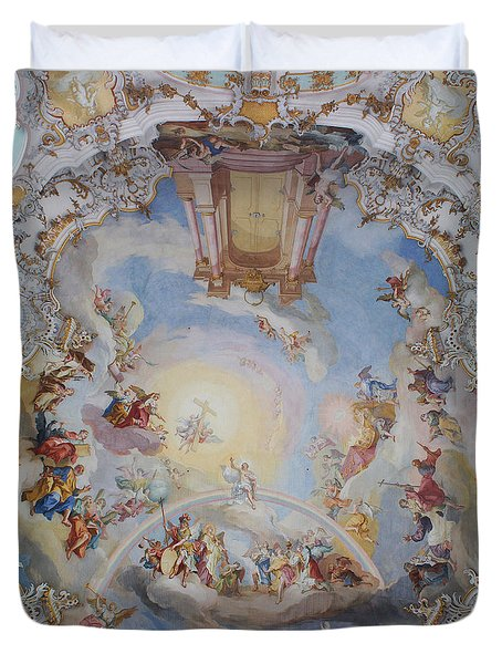 Wies Pilgrimage Church Bavaria Fresko Duvet Cover by Rudi Prott