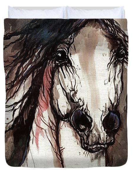 Wild Arabian Horse Duvet Cover by Angel  Tarantella