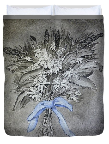 Duvet Cover featuring the painting Wild Blue Flowers by Kelly Mills