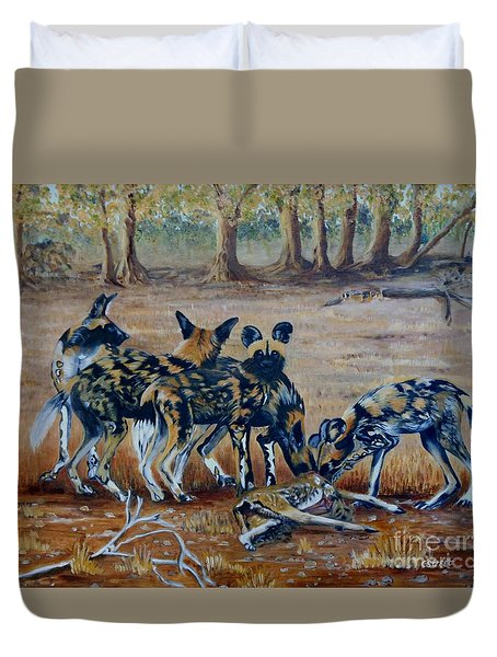 Wild Dogs After The Chase Duvet Cover by Caroline Street