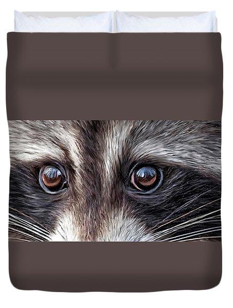 Wild Eyes - Raccoon Duvet Cover by Carol Cavalaris