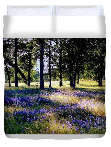 Wild Flowers In Forest Duvet Cover