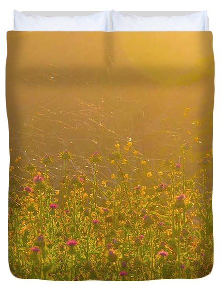 Wild Flowers With Webs Duvet Cover by Deprise Brescia
