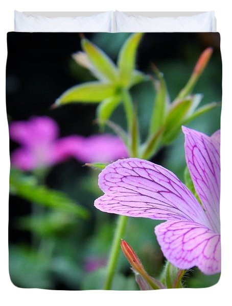 Duvet Cover featuring the photograph Wild Geranium Flowers by Clare Bevan