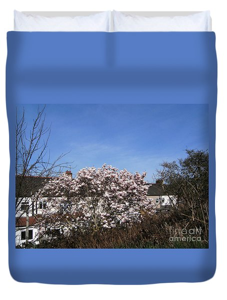 Duvet Cover featuring the photograph Wild Hedge And Cherry Blossom - The Greenway  Plaistow   by Mudiama Kammoh