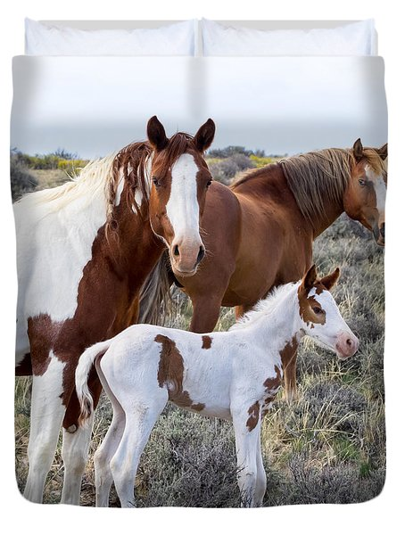 Wild Horse Family Portrait Duvet Cover