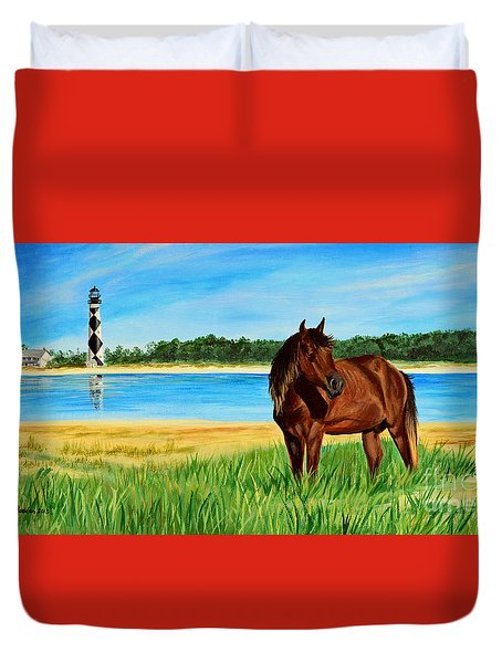 Wild Horse Near Cape Lookout Lighthouse Duvet Cover