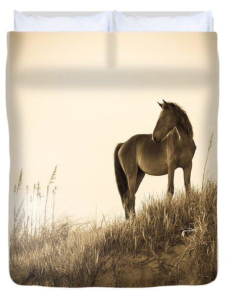 Wild Horse On The Beach Duvet Cover by Diane Diederich