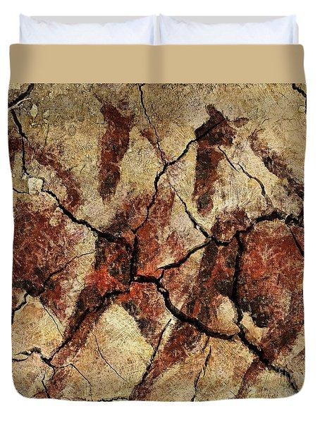 Wild Horses - Cave Art Duvet Cover by Dragica  Micki Fortuna