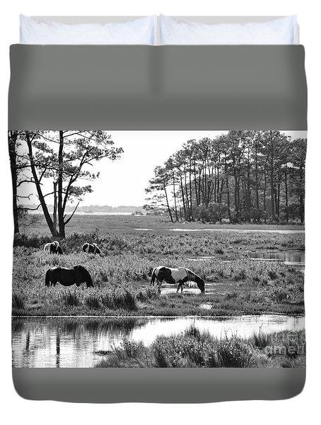 Wild Horses Of Assateague Feeding Duvet Cover by Dan Friend