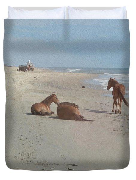 Wild Horses On The Beach Duvet Cover