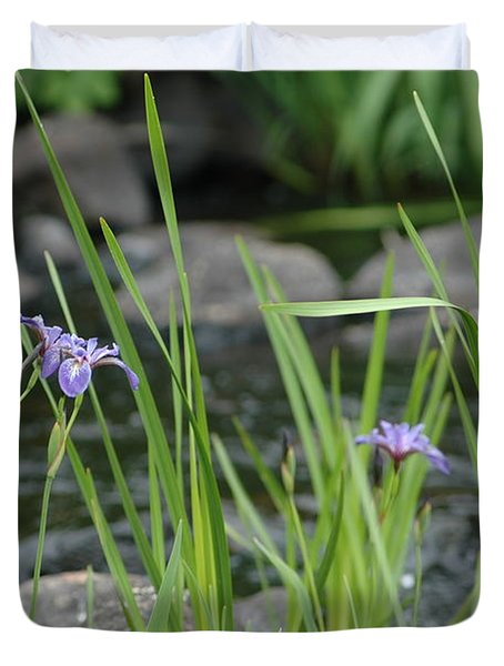 Wild Iris By The Creek Duvet Cover