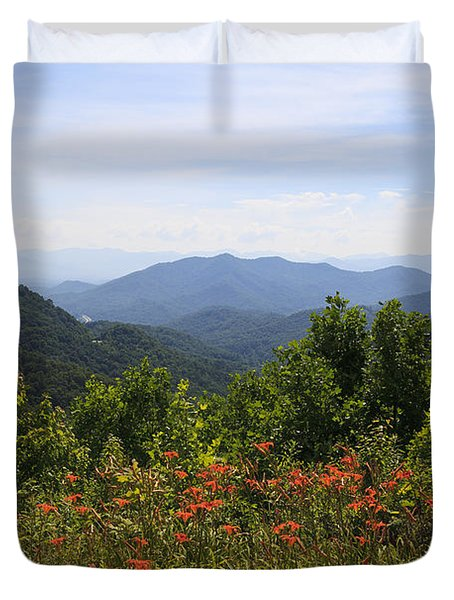 Wild Lilies With A Mountain View Duvet Cover