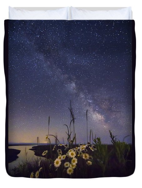 Wild Marguerites Under The Milky Way Duvet Cover by Mircea Costina Photography