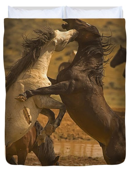 Wild Mustang Stallions - Signed Duvet Cover by J L Woody Wooden