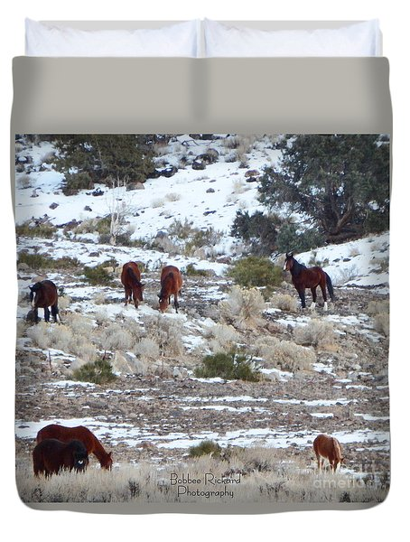 Wild Mustangs In A Nevada Winter Duvet Cover