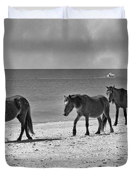 Wild Mustangs Of Shackleford Duvet Cover