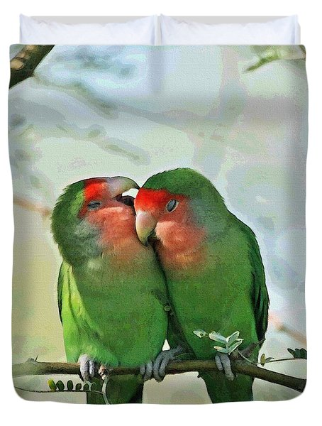 Duvet Cover featuring the photograph Wild Peach Face Love Bird Whispers by Tom Janca