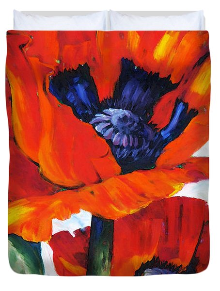 Wild Poppies - Floral Art By Betty Cummings Duvet Cover by Sharon Cummings