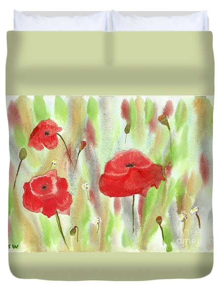 Wild Poppies Duvet Cover by Tracey Williams