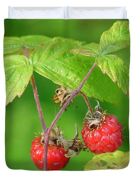Wild Raspberries Duvet Cover