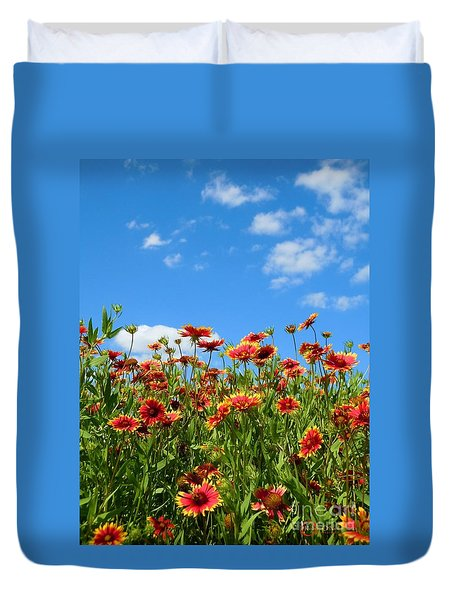 Duvet Cover featuring the photograph Wild Red Daisies #5 by Robert ONeil
