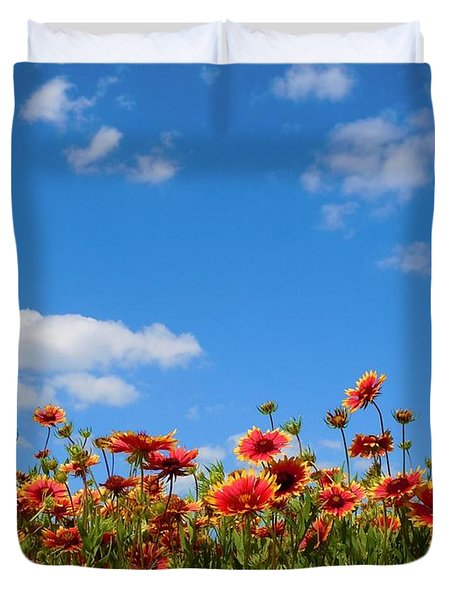 Duvet Cover featuring the photograph Wild Red Daisies #6 by Robert ONeil