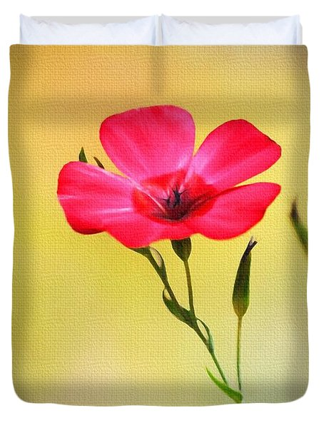 Duvet Cover featuring the photograph Wild Red Flower by Tom Janca