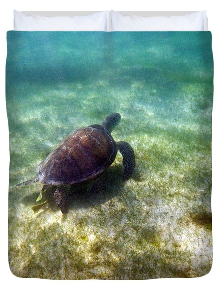 Duvet Cover featuring the photograph Wild Sea Turtle Underwater by Eti Reid