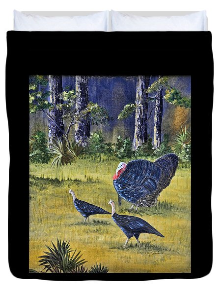 Duvet Cover featuring the painting Wild Turkeys by Kenny Francis