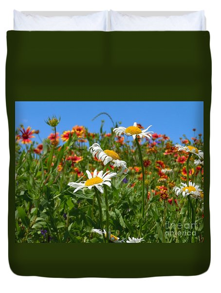 Duvet Cover featuring the photograph Wild White Daisies #1 by Robert ONeil