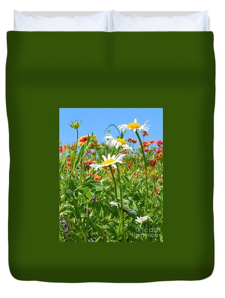 Duvet Cover featuring the photograph Wild White Daisies #2 by Robert ONeil