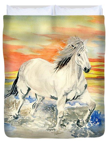 Wild White Horse Duvet Cover