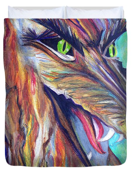 Duvet Cover featuring the drawing Wild Wolf by Daniel Janda
