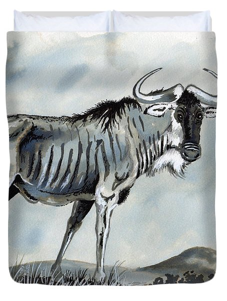 Wildebeest Duvet Cover by Anthony Mwangi