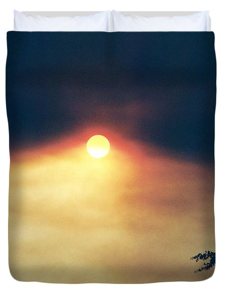 Duvet Cover featuring the photograph Wildfire Smoky Sky by Kerri Mortenson
