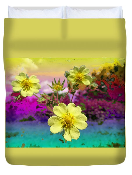 Wildflower Abstract Duvet Cover by Mike Breau