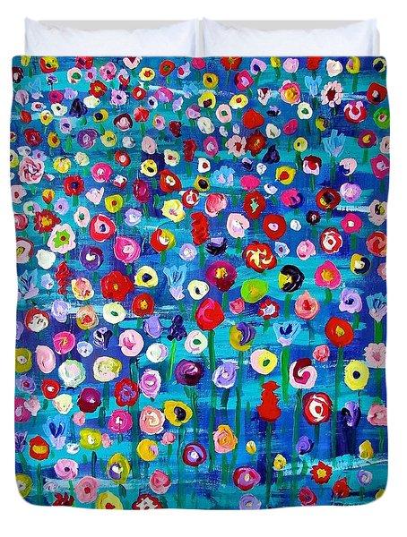 Wildflower Fiesta Duvet Cover by Brenda Pressnall