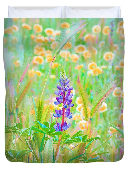 Duvet Cover featuring the photograph Wildflower Meadow - Spring In Central California by Ram Vasudev