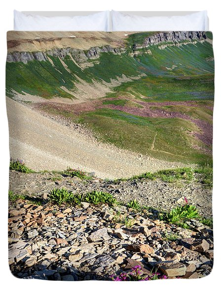 Wildflowers Above Timpanogos Basin At Sunrise Duvet Cover