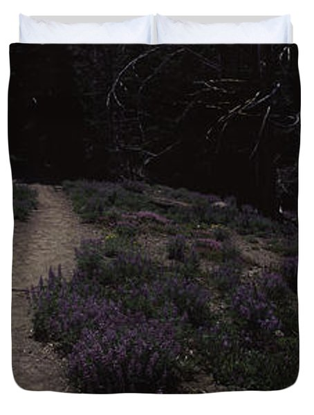 Wildflowers Along A Trail With Mountain Duvet Cover