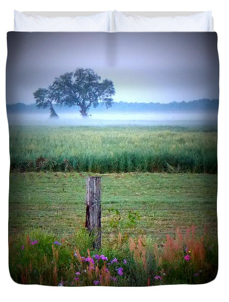 Wildflowers And Fog Duvet Cover