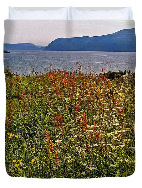 Wildflowers At Lobster Cove Head In Gros Morne Np-nl Duvet Cover