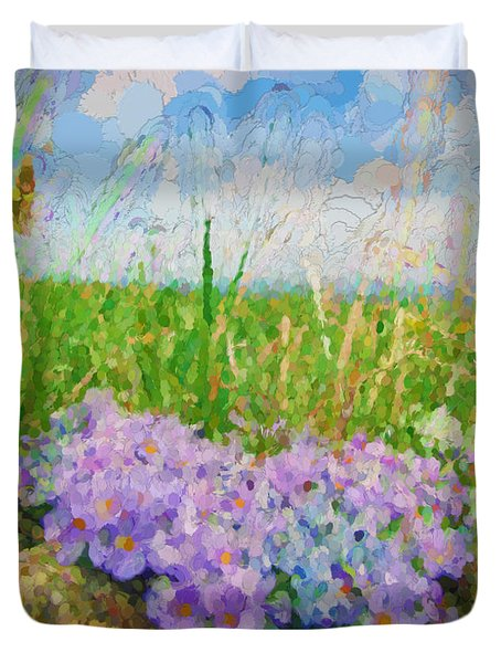 Duvet Cover featuring the digital art Wildflowers by Cathy Anderson