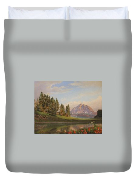 Wildflowers Mountains River Western Original Western Landscape Oil Painting Duvet Cover