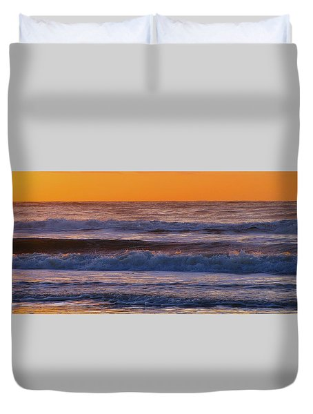 Wildwood Beach Golden Sky Duvet Cover by David Dehner