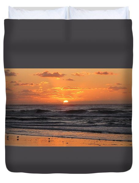 Wildwood Beach Here Comes The Sun Duvet Cover by David Dehner