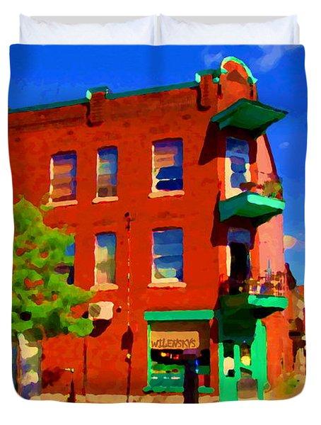 Wilenskys Deli Light Lunch Famous Sandwich Coffee Shop Art Of Montreal Street Scene Carole Spandau Duvet Cover by Carole Spandau